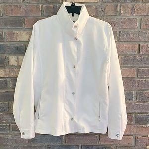 Lauren Active White Polyester Zip & Button Jacket